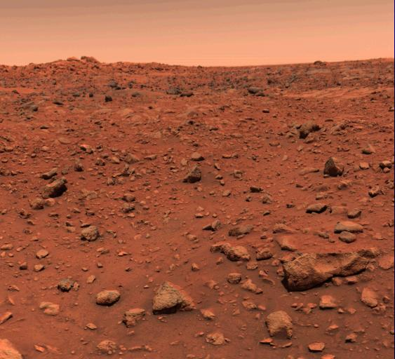 This color picture of Mars was taken July 21--the day following Viking 1's successful landing on the planet.