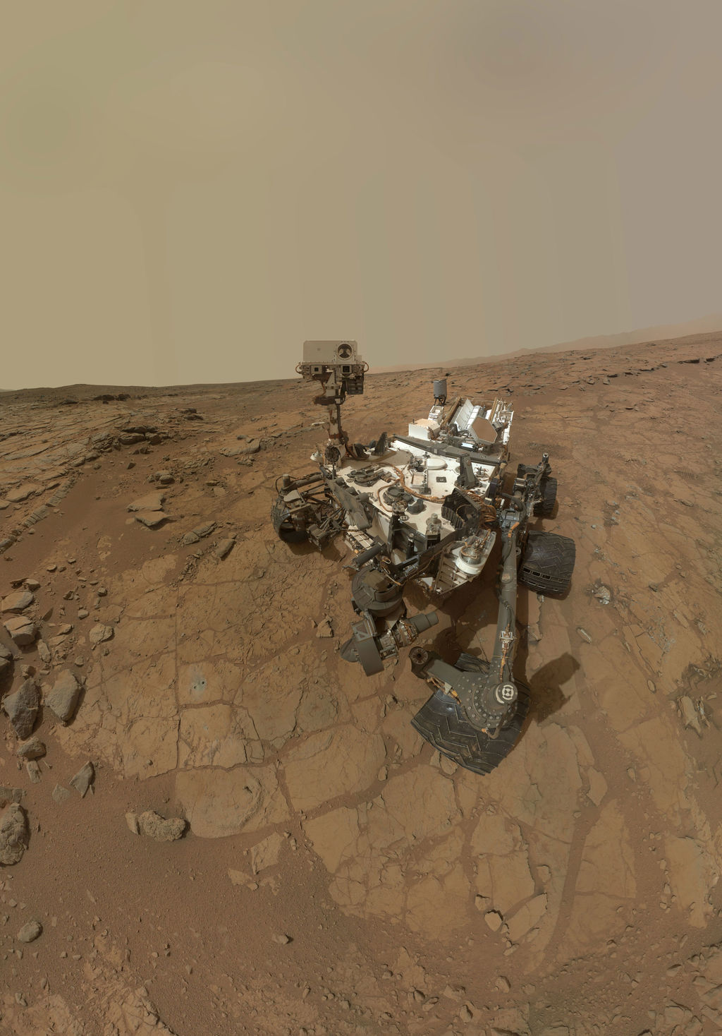 This self-portrait of NASA's Mars rover Curiosity combines dozens of exposures taken by the rover's Mars Hand Lens Imager (MAHLI) during the 177th Martian day, or sol, of Curiosity's work on Mars (Feb. 3, 2013), plus three exposures taken during Sol 270 (May 10, 2013) to update the appearance of part of the ground beside the rover.