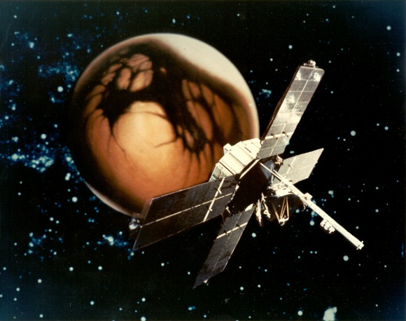 Mariner 4 superimposed on an image of Mars