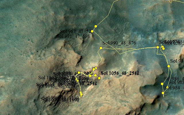 Curiosity Rover's Location for Sol 1056