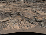 This view from the Mast Camera (Mastcam) on NASA's Curiosity Mars rover shows a site where two different types of bedrock meet on lower Mount Sharp.