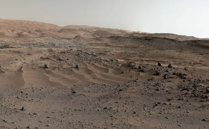see the image 'Curiosity Rover's View of Alluring Martian Geology Ahead'
