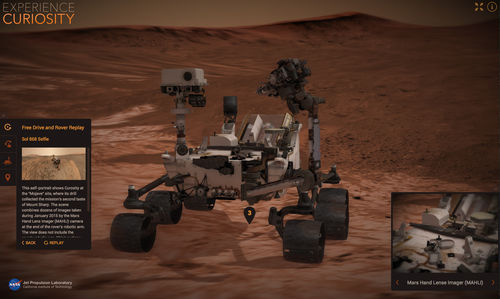 A screen capture from NASA's new Experience Curiosity website shows the rover in the process of taking its own self-portrait.