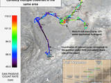 "Curiosity's DAN instrument for checking hydration levels in the ground beneath the rover detected an unusually high amount at a site near ""Marias Pass,"" prompting repeated passes over the area to map the hydrogen amounts. This map shows color-coded results from multiple traverses over the area."
