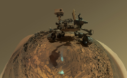 see the image 'Round-Horizon Version of Curiosity's Low-Angle Selfie at 'Buckskin''