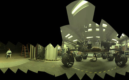 see the image 'Test Rover at JPL During Preparation for Mars Rover's Low-Angle Selfie'