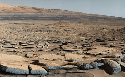 see the image 'Strata at Base of Mount Sharp'