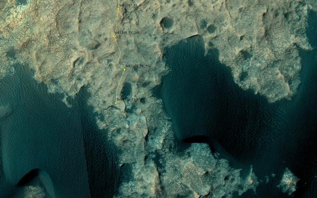 Curiosity Rover's Location for Sol 1173