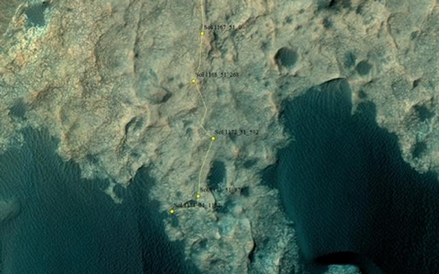 Curiosity Rover's Location for Sol 1174