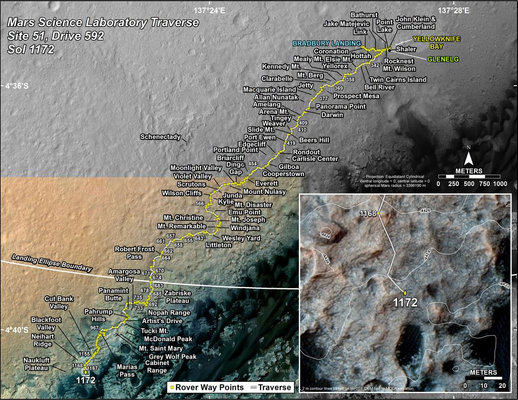 This map shows the route driven by NASA's Mars rover Curiosity through the 1172 Martian day, or sol, of the rover's mission on Mars (November, 23, 2015).
