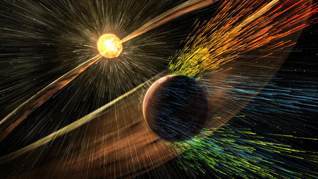 Artist's Concept of Solar Storm Hitting Mars