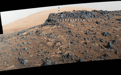 see the image 'Veiny 'Garden City' Site and Surroundings on Mount Sharp, Mars'