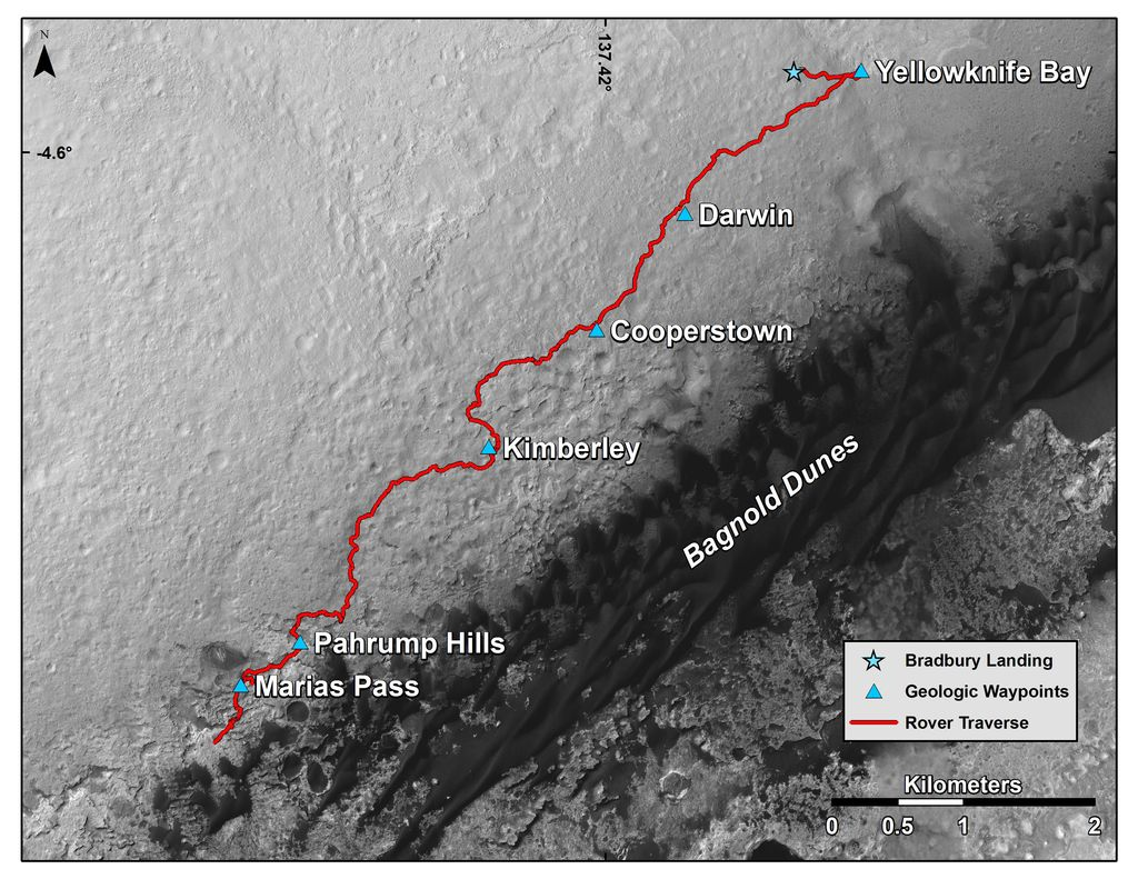 "This map shows the route driven by NASA's Curiosity Mars rover from the location where it landed in August 2012 to its location in mid-November 2015, approaching examples of dunes in the ""Bagnold Dunes"" dune field."