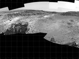 "This 360-degree panorama shows the ""Marias Pass"" area, at center, and part of the slope that NASA's Curiosity Mars rover climbed to get there, at right."