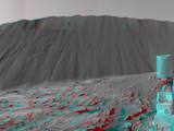 This stereo view from NASA's Curiosity Mars Rover shows the downwind side of a dune about 13 feet high within the Bagnold Dunes on Mars. The image appears three-dimensional when viewed through red-blue glasses with the red lens on the left. Curiosity's Navcam took the component images on Dec. 17, 2015.