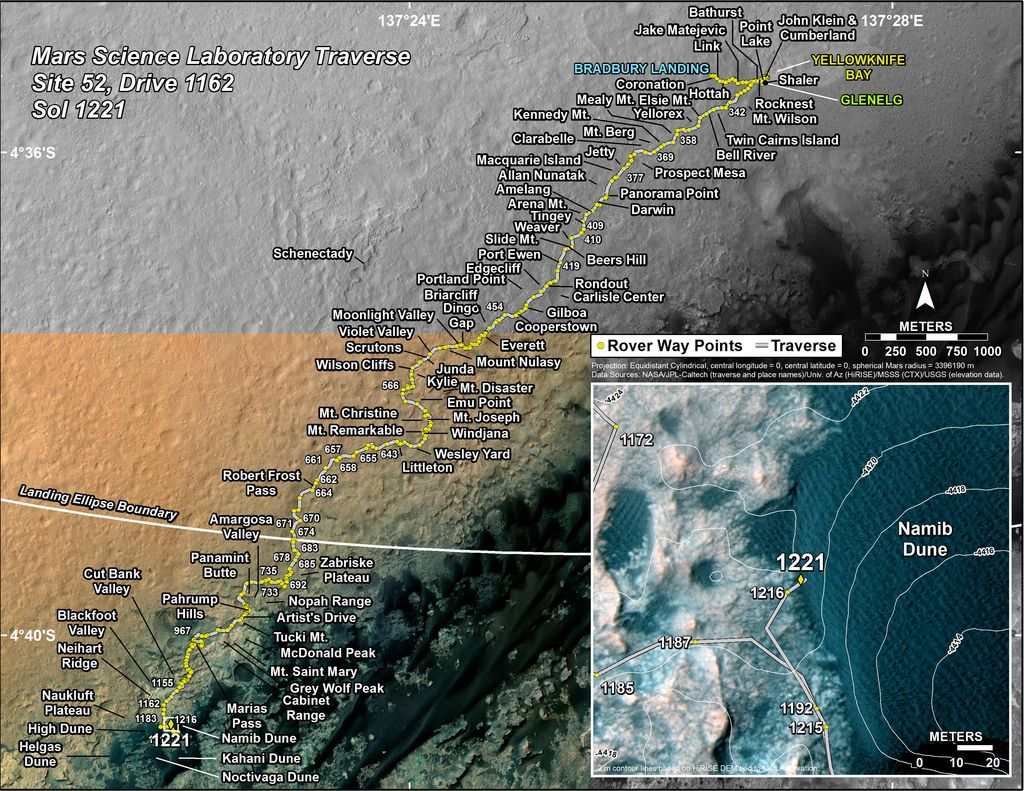 This map shows the route driven by NASA's Mars rover Curiosity through the 1221 Martian day, or sol, of the rover's mission on Mars (January, 13, 2016).