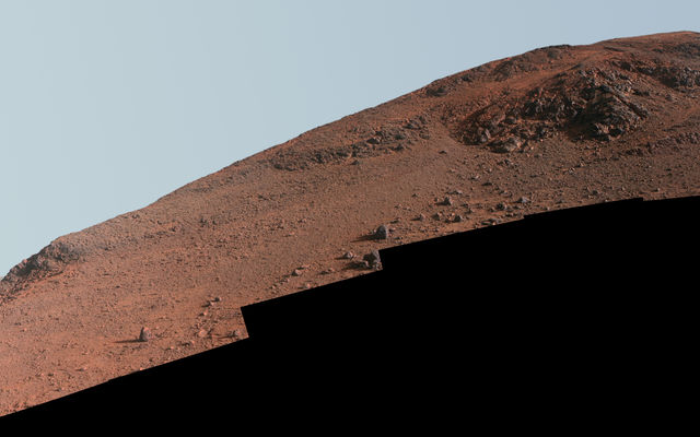 Steep 'Knudsen Ridge' Along 'Marathon Valley' on Mars (Enhanced Color)
