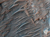 These long, smooth features are sand ridges shaped by the constant martian wind.