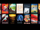 "A set of ""travel posters"" from NASA/JPL depicts various cosmic destinations."