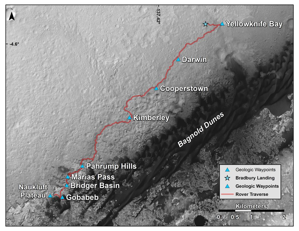 This map shows the route driven by NASA's Curiosity Mars rover from where it landed in 2012 to its location in early March 2016, approaching 'Naukluft Plateau.' As the rover continues up Mount Sharp, its science team has been refreshed by a second round of NASA participating-scientist selections.