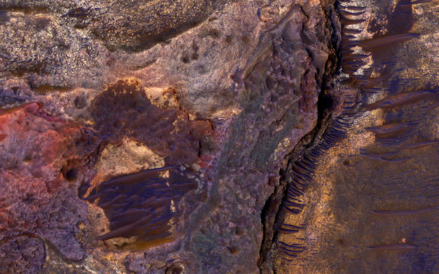 Sedimentary Rock Layers on a Crater Floor