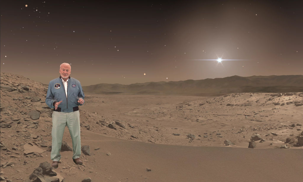 Buzz Aldrin, an Apollo 11 astronaut who walked on the moon, makes a holographic appearance in 'Destination: Mars,' a mixed-reality tour of a part of Mars that NASA's Curiosity rover has explored.