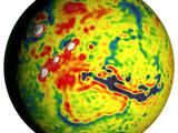 This map shows unprecedented detail of local variations in Mars' gravitational pull on orbiters. The gravitational mapping has been applied to map variations in the thickness of the planet's crust and to deduce information about its deeper interior.