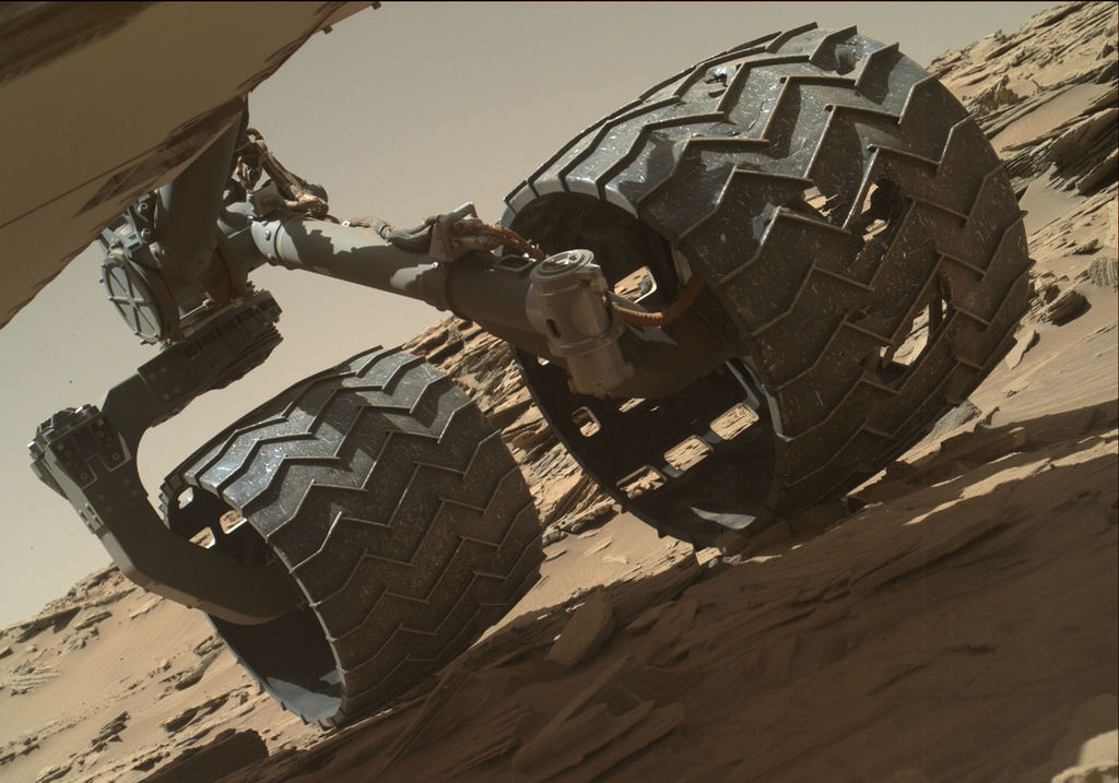 The team operating NASA's Curiosity Mars rover uses the Mars Hand Lens Imager (MAHLI) camera on the rover's arm to check the condition of the wheels at routine intervals.