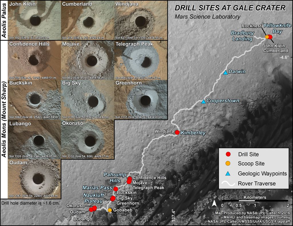 This graphic maps the first 14 sites where NASA's Curiosity Mars rover collected rock or soil samples for analysis using the rover's onboard laboratory. It also presents images of the drilled holes where 12 rock-powder samples were acquired. At the other two sites Curiosity scooped soil samples.