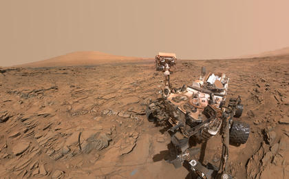 read the article 'Curiosity Self-Portrait at 'Okoruso' Drill Hole, Mars, Facing Away'