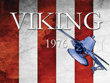 Anniversary artwork of NASA Viking 1 and Viking 2 Landers and Orbiters against an American flag. Infographic text: Viking 1976. 40th anniversary. #viking40