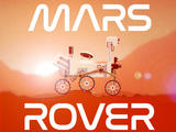 This is a shareable image about a social media game called Mars Rover. On their mobile devices, players drive a rover through rough Martian terrain, challenging themselves to navigate and balance the rover while earning points along the way.