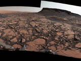 "This 360-degree panorama was acquired on Sept. 4, 2016, by the Mast Camera on NASA's Curiosity Mars rover while the rover was in a scenic area called ""Murray Buttes"" on lower Mount Sharp. The flat-topped mesa near the center of the scene rises to about 39 feet above the surrounding plain."