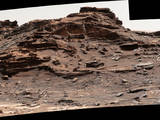 "The top of the butte in this Sept. 1, 2016, scene from the Mast Camera (Mastcam) on NASA's Curiosity Mars rover stands about 16 feet above the rover and about 82 feet east-southeast of the rover. The site is in the ""Murray Buttes"" area of lower Mount Sharp, and this particular butte is called ""M9a."""