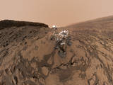 "This September 2016 self-portrait of NASA's Curiosity Mars rover shows the vehicle at the ""Quela"" drilling location in the scenic ""Murray Buttes"" area on lower Mount Sharp. The panorama was stitched together from multiple images taken by the MAHLI camera at the end of the rover's arm."