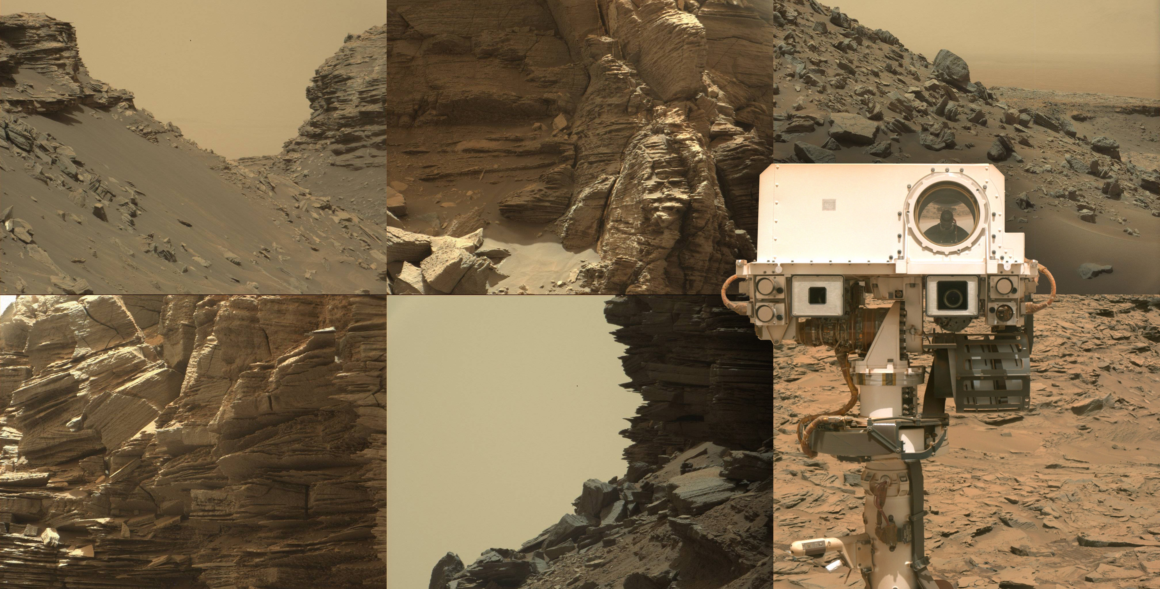 NASA Mars Rover Curiosity goes up a mountain