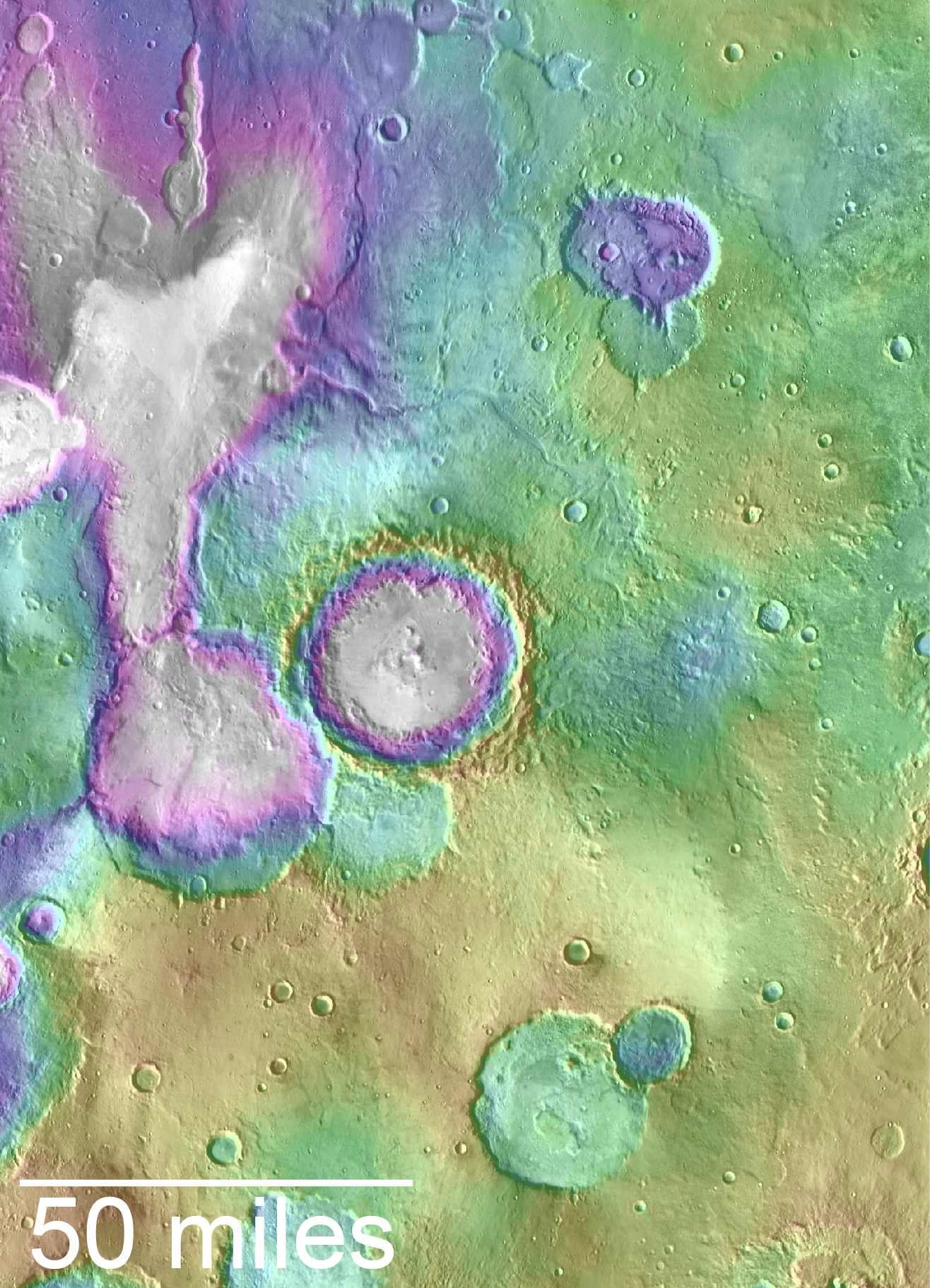 Landscape of Former Lakes and Streams on Northern Mars