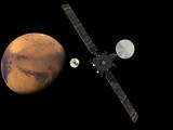 This artist's concept from the European Space Agency depicts the Trace Gas Orbiter and its entry, descent and landing demonstrator module, Schiaparelli, approaching Mars. The separation occurred on Oct. 16, 2016. The orbiter and the lander are components of the ExoMars 2016 mission of ESA and Roscosmos.