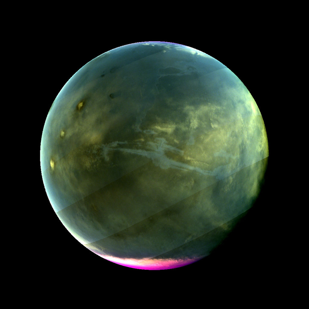 MAVEN's Imaging UltraViolet Spectrograph obtained this image of Mars on July 13, 2016, when the planet appeared nearly full when viewed from the highest altitudes in the MAVEN orbit.