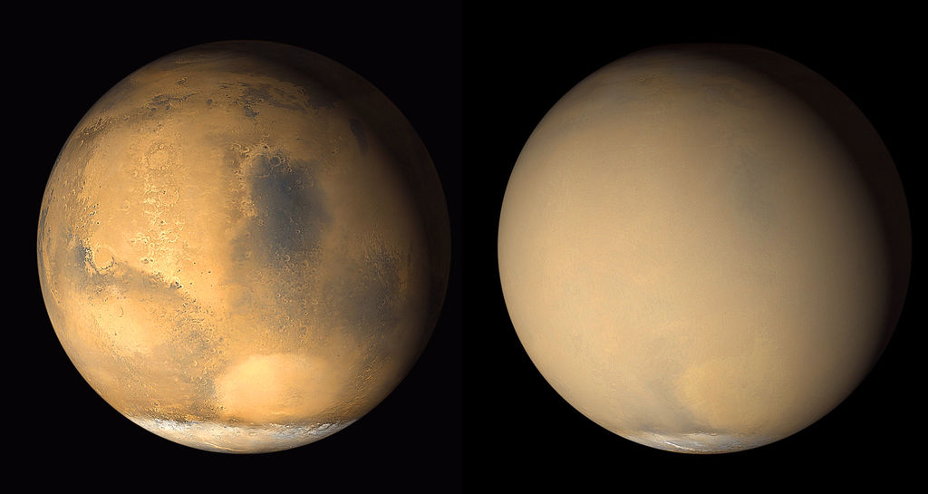 Two 2001 images from the Mars Orbiter Camera on NASA's Mars Global Surveyor orbiter show a dramatic change in the planet's appearance when haze raised by dust-storm activity in the south became globally distributed. The images were taken about a month apart.