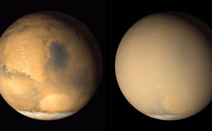 read the article 'Dust Haze Hiding the Martian Surface in 2001'