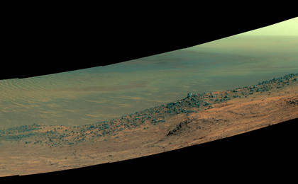 read the article 'Mars Rover Opportunity's Panorama of 'Wharton Ridge' (Enhanced Color)'