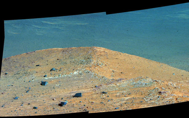 'Spirit Mound' Beside Martian Crater (Enhanced Color)