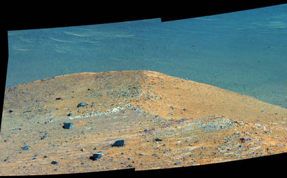 read the article ''Spirit Mound' at Edge of Endeavour Crater, Mars (Enhanced Color)'