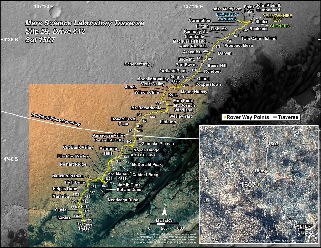 This map shows the route driven by NASA's Mars rover Curiosity through the 1507 Martian day, or sol, of the rover's mission on Mars (November, 01, 2016).