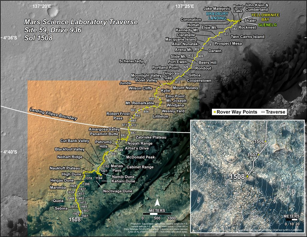 This map shows the route driven by NASA's Mars rover Curiosity through the 1508 Martian day, or sol, of the rover's mission on Mars (November, 02, 2016).