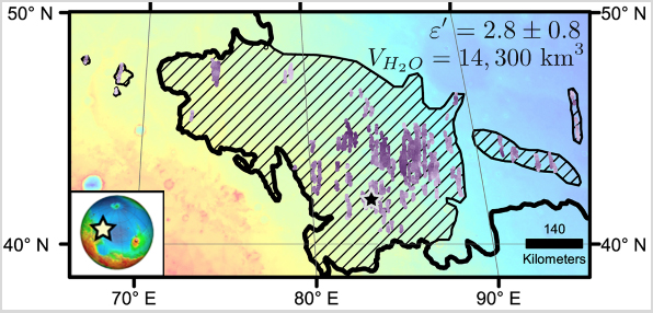 Location of Large Subsurface Water-Ice Deposit in Utopia Planitia, Mars
