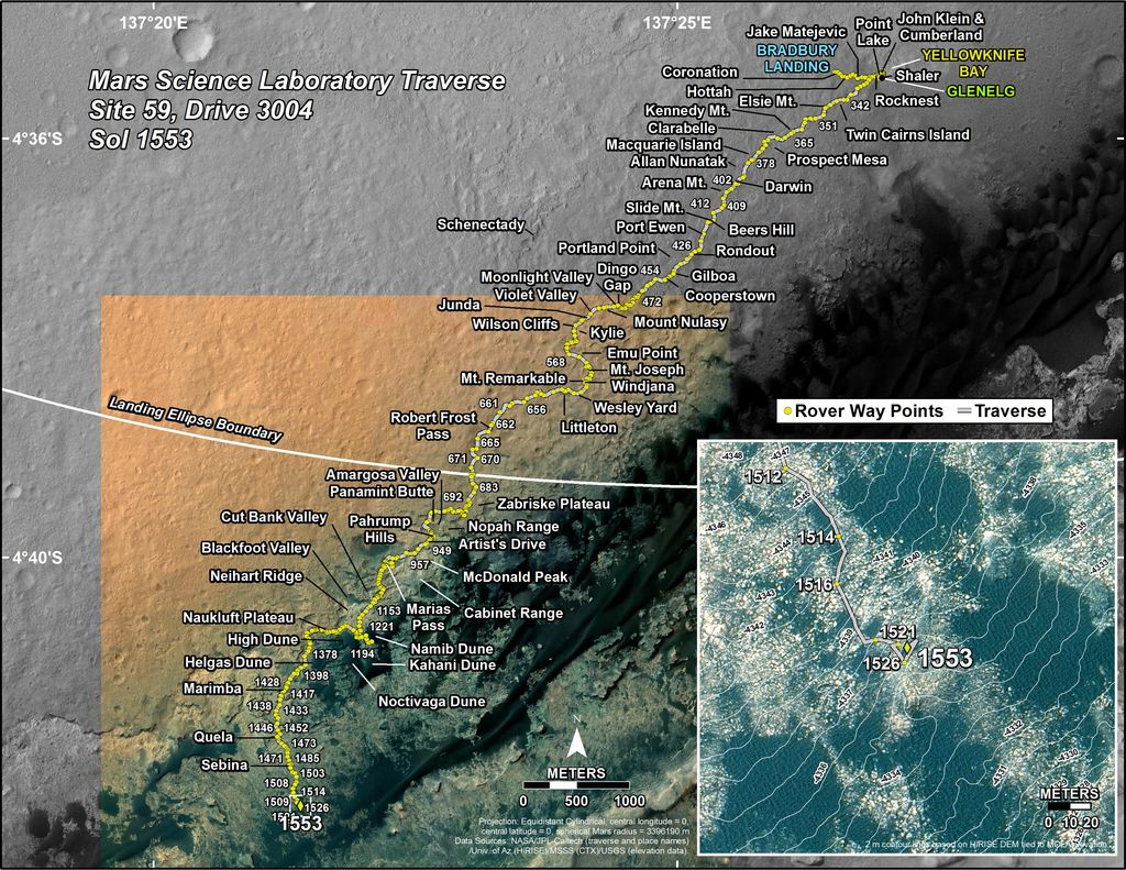 This map shows the route driven by NASA's Mars rover Curiosity through the 1553 Martian day, or sol, of the rover's mission on Mars (December 19, 2016).