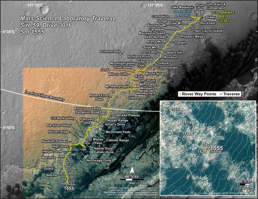 This map shows the route driven by NASA's Mars rover Curiosity through the 1555 Martian day, or sol, of the rover's mission on Mars (December 21, 2016).