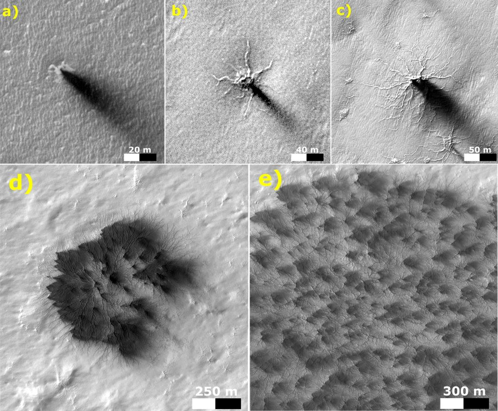 These five images from the HiRISE camera on NASA's Mars Reconnaissance Orbiter show different Martian features of progressively greater size and complexity, all thought to result from thawing of seasonal carbon dioxide ice that covers large areas near Mars' south pole during winter.